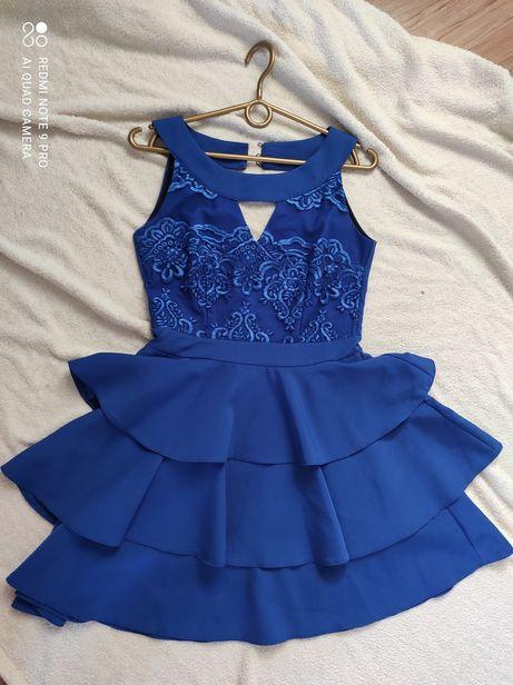 Sukienka chabrowa rozkloszowana