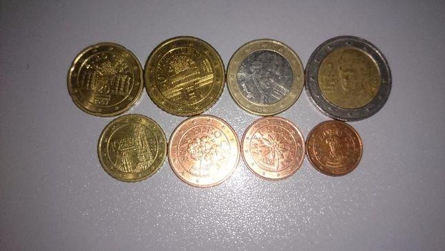 Набор евро монет(Испания,Австрия).