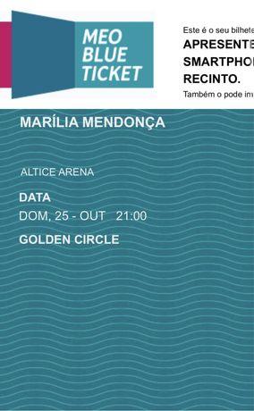 2 Bilhetes Marília Mendonça - Lisboa - Golden Circle