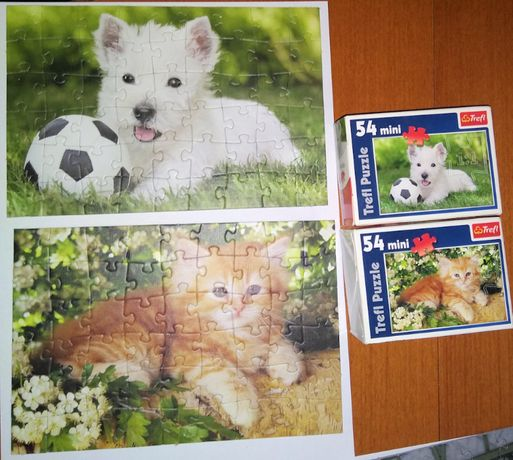 Puzzle Zwierzatka: pies, kot stan: jak nowe, 3 rozne obrazki 10 PLN