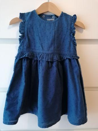 Vestido azul escuro, renda tam 18 meses