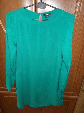 H&M nowa minimalistyczna trapezowa sukienka XS S 34 36 zieleń komunia