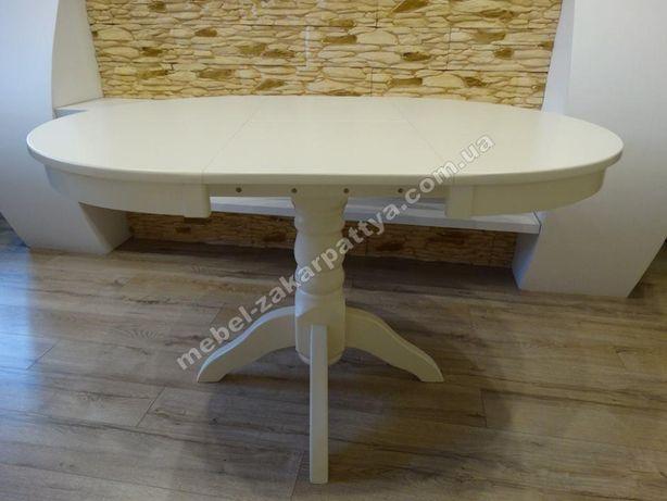 Круглый стол деревянный. Кухонный раскладной белый. Стіл кухонний