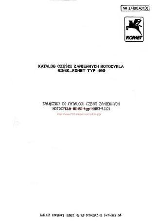 katalog części zamiennych ROMETMińsk Typ 400A 400B
