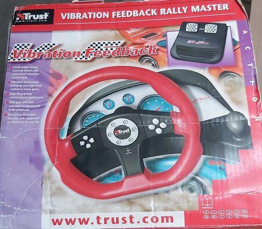 Volante e pedais p/ jogos corridas de carro no computador. Marca Trust