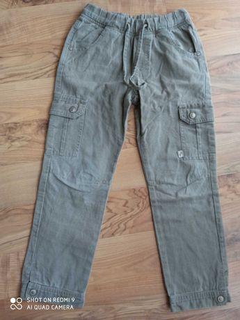 Długie spodnie bawełniane jak lniane r. 128
