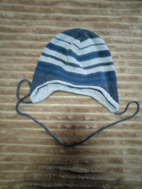 шапка на осень весну теплая хлопковая на подкладке на обьем головы 46