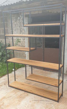 Regał loftowy/industrialny.Drewno dębowe 3 cm grubości.