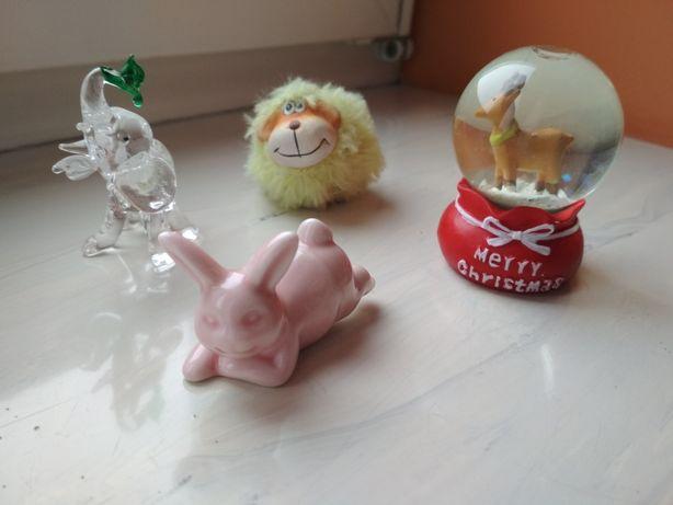 Figurki dekoracje szklane porcelanowe słoń owca królik świąteczna