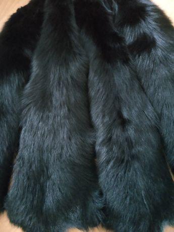 Лисий мех, шикарный, лиса(чулок) ,черная , штамп