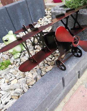 Samolot metalowy ozdoba do ogrodu