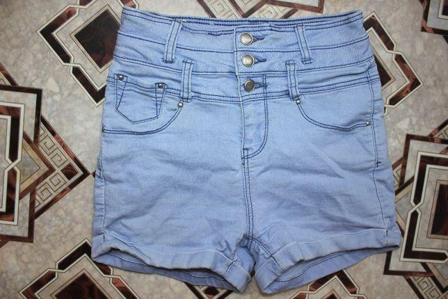 Шорты джинсовые высокая посадка светлые 24-25 размер XS