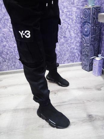 Мужские штаны adidas   Y3 карго чёрные,брюки джоггеры.