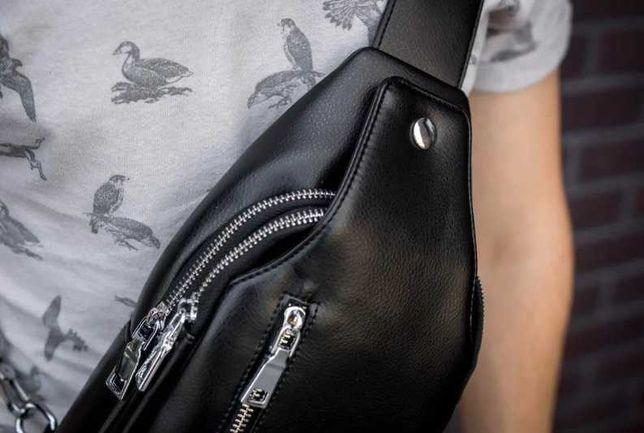 Новая мужская сумка слинг качественная экокожа