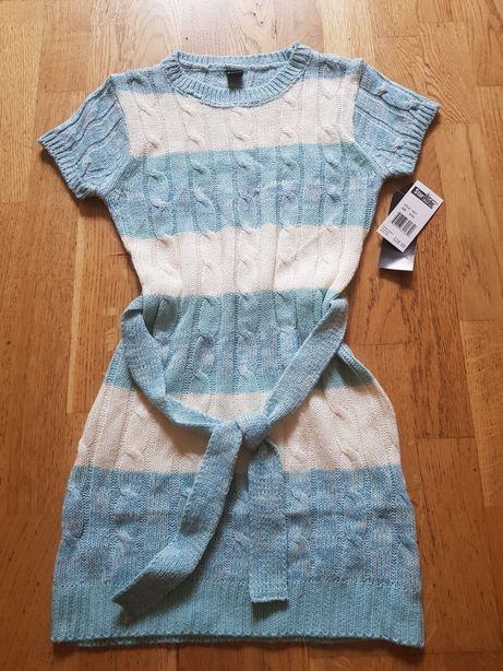 Śliczna dziewczęca sukienka tunika sweterek 7/8 lat 128 134