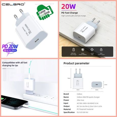 Carregador carregamento rápido iPhone / Samsung / Huawei -20W-Tipo C
