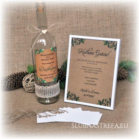 Ksiega gości w butelce butelkowa księga gości na ślub wesele