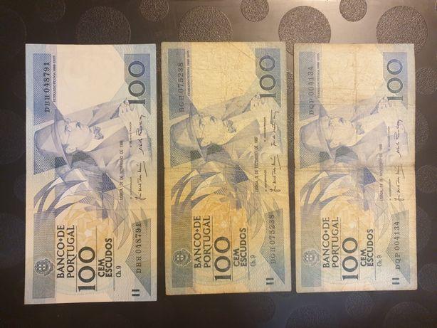 3 notas de 100 Escudos,  Fernando Pessoa