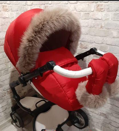 Зимник Mima Xari красный, мех песец/зимний комплект коляска Мима Ксари
