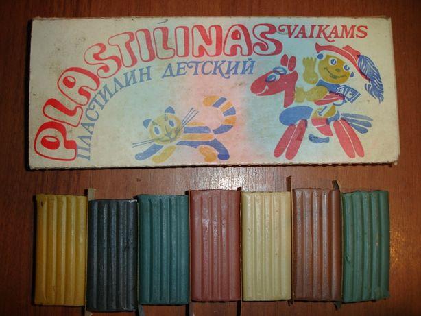 Пластилин/пластилін, раритет, НОВИЙ, 7 кольорів, 1985 р.в., Прибалтика