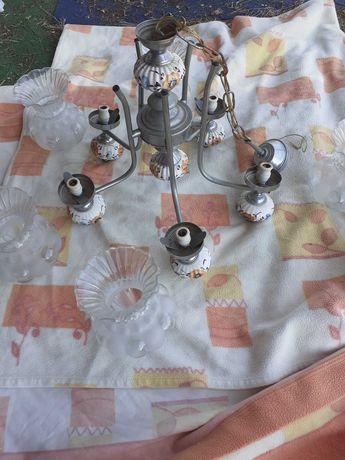 Candeeiro 6 lâmpadas tecto porcelana estanho