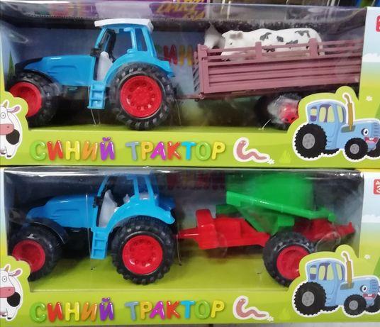 Синий трактор с прицепом, инерция