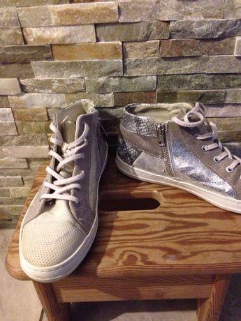 Buty trampki srebrne węża skórka szary beż ekri srebro 40
