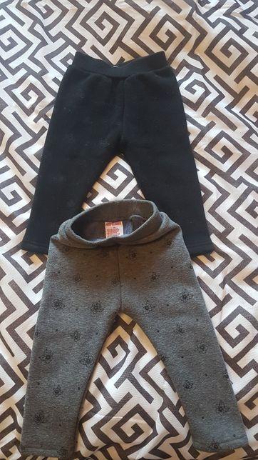 Cieple spodnie getry w kwiatki ciemne kolory 74