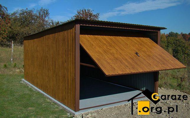 Garaże blaszane imitujące drewno ZŁOTY DĄB 3x5 Garaż blaszany Blaszaki