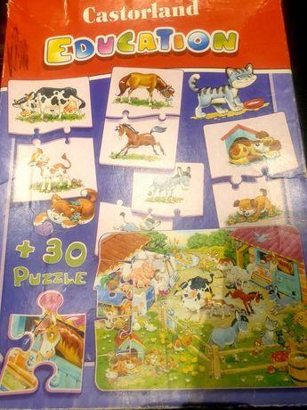 Puzzle 2w1 edukacyjne farma połącz mama dziecko castorland