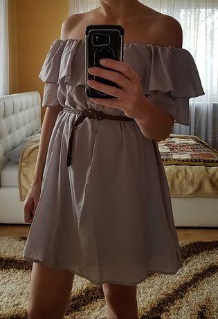 Boohoo szara sukienka z falbanką 36