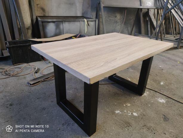 Stolik kawowy metalowy drewniany blat płyta loft