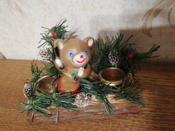 Подсвечник новогодний мишка