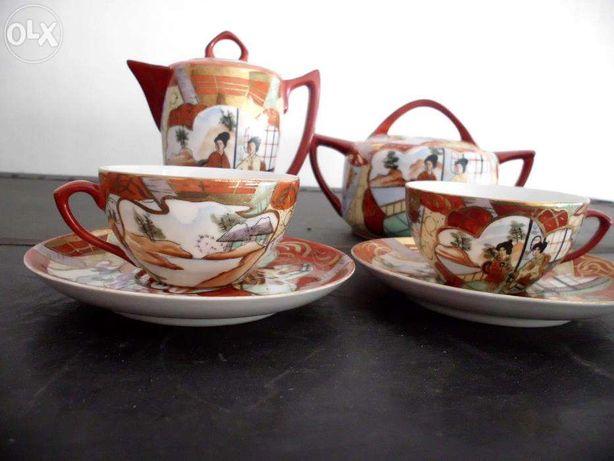 Serviço de chá Vista Alegre decoração Oriental