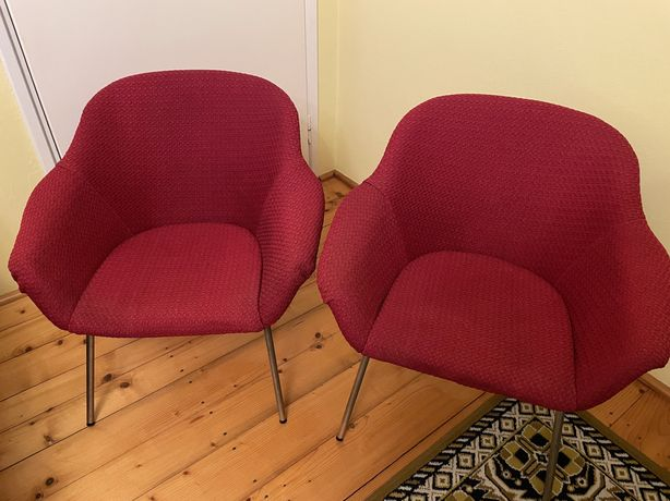 Fotel PRL muszelka czerwień