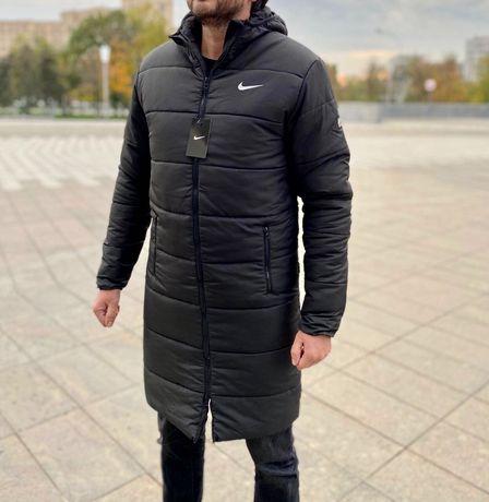 Зимний удлинённый пуховик Nike Adidas  Under Urmour чёрный