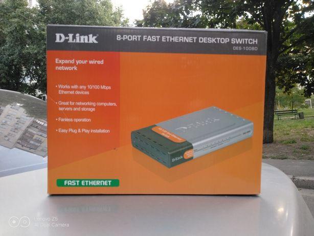 Коммутатор сетевой D-Link DES-1008D новый
