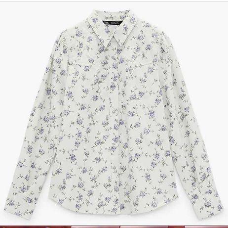 Рубашка ZARA в цветочек на кнопках новая