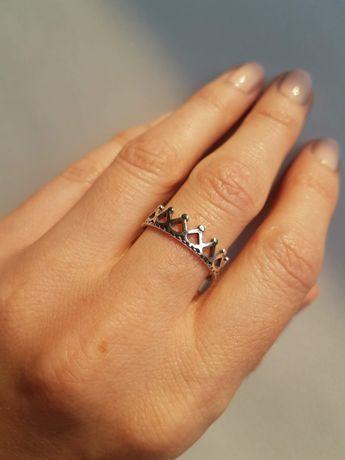 Obrączka pierścionek korona srebrna jak Pandora