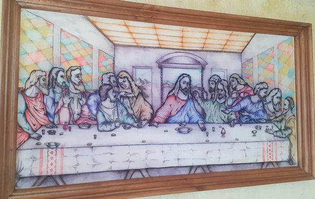 Картина Тайная вечеря, ручкой в рамке, 87 на 47 см