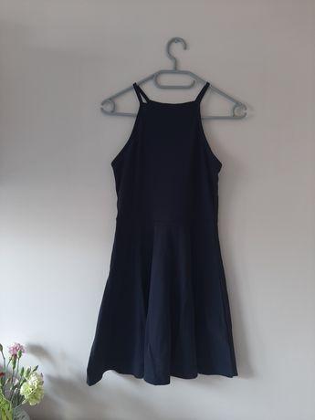 Sukienka letnia bawełniana materiałowa granatowa XS 34