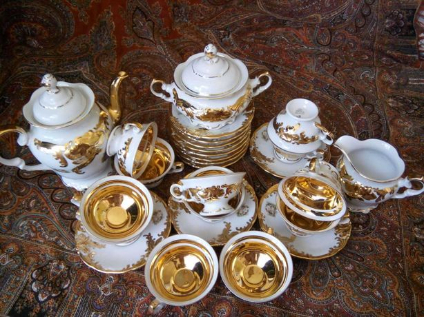Сервиз сервіс ссср порцеляна фарфор посуд кобальт позолота чашки чайни