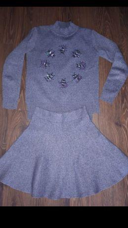Komplet Gucci XS/S komplet spódniczka sweterek muchy melanż szary zara