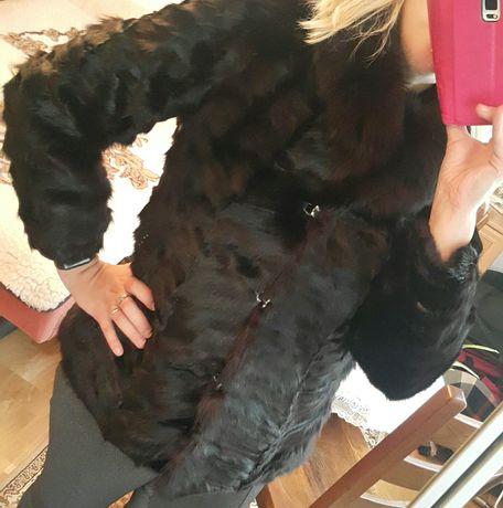 Futro naturalne z futra lisa czarne kurtka kożuch 40 / 42