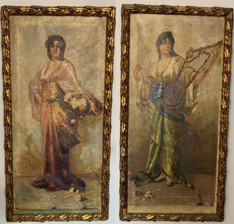 Stare obrazy olejne płótno antyk polskie malarstwo XIX w Lwów staroć