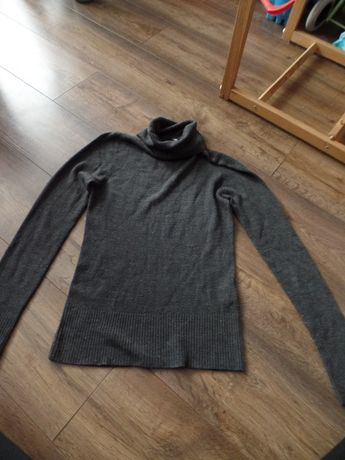 Klasyczny szary sweter golf, H&M, r. 36 - S