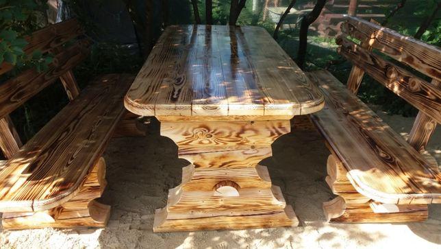 стол из дерева в комплекте с лавками 2 шт