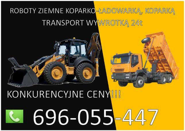 Usługi Koparką oraz koparko-Ładowarką, Transport wywrotką - Skała