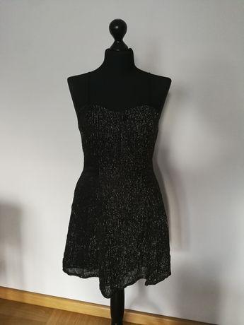 Czarna Sukienka zloto zlota 36/ 38 s m