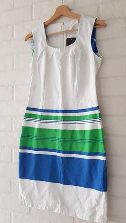 Sukienka w zielono- niebieskie pasy nowa